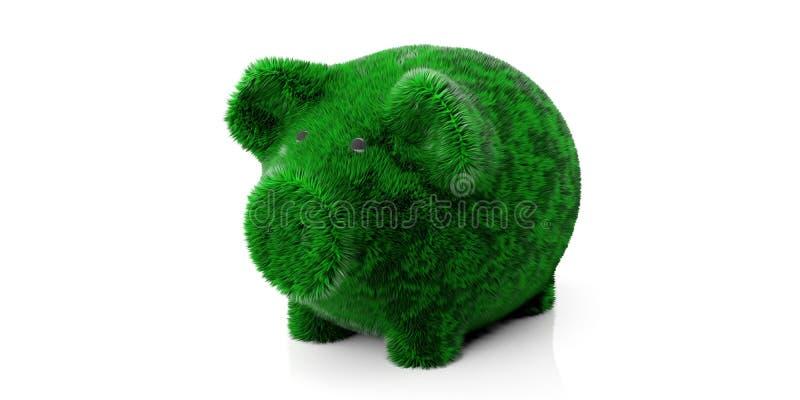 Groen grasrijk ge?soleerd haarspaarvarken dat tegen witte achtergrond wordt verwijderd 3D Illustratie vector illustratie