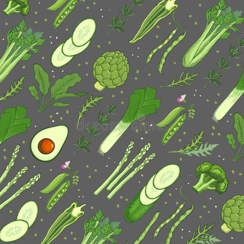 Groen groentenmalplaatje als achtergrond voor banner Gezond natuurvoedingconcept Hand-drawn illustratie voor restaurantmenu, mark stock illustratie