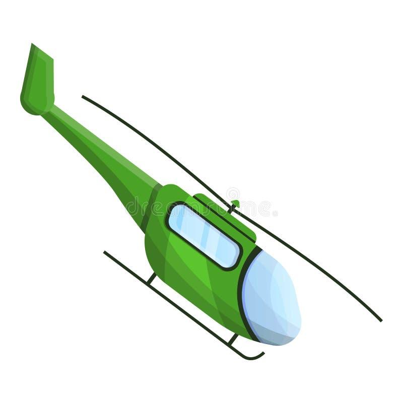 Groen helikopterpictogram, beeldverhaalstijl royalty-vrije illustratie