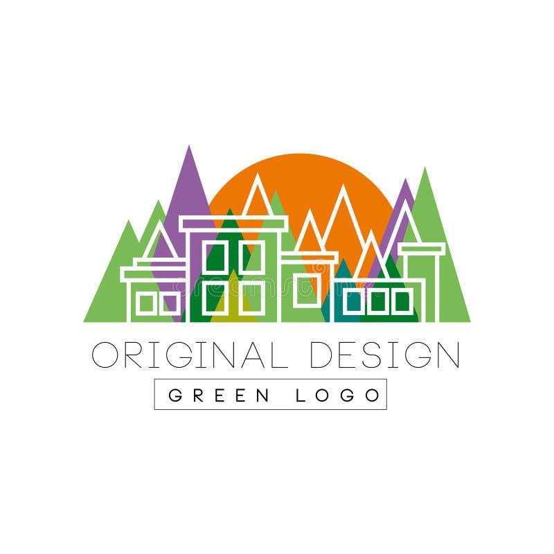 Groen het embleemmalplaatje van het embleem origineel ontwerp, de kleurrijke horizon van het stadslandschap, onroerende goederenv stock illustratie