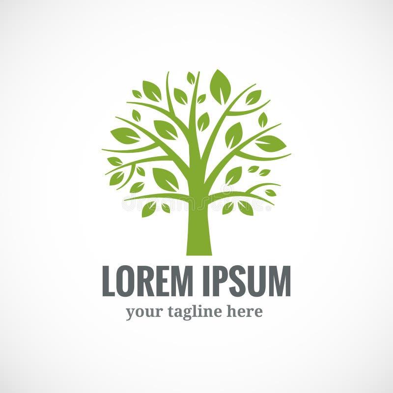 Groen het ontwerpmalplaatje van het boom vectorembleem royalty-vrije illustratie