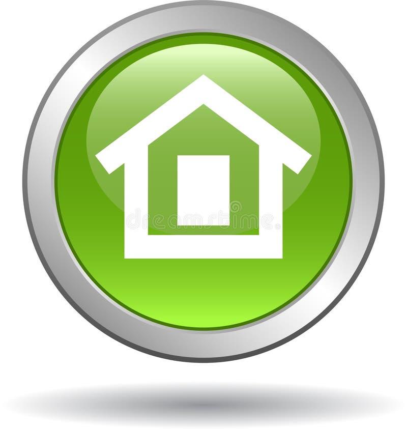 Groen het Webpictogram van de huisknoop stock illustratie