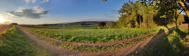 Groen heuvelig landschap met Reuzebergen, Tsjech: Krkonose, op horizon, Tsjechische Republiek Panoramisch schot royalty-vrije stock fotografie