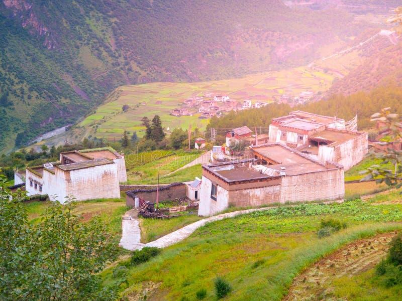 Groen heuvelig landschap van Tibet met klein traditioneel tibetan dorp royalty-vrije stock afbeeldingen