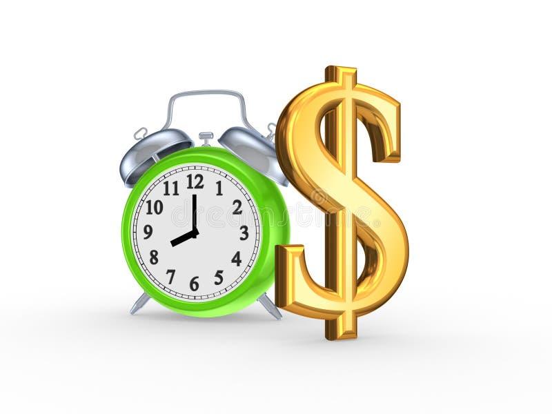 Groen horloge en teken van dollar. stock illustratie