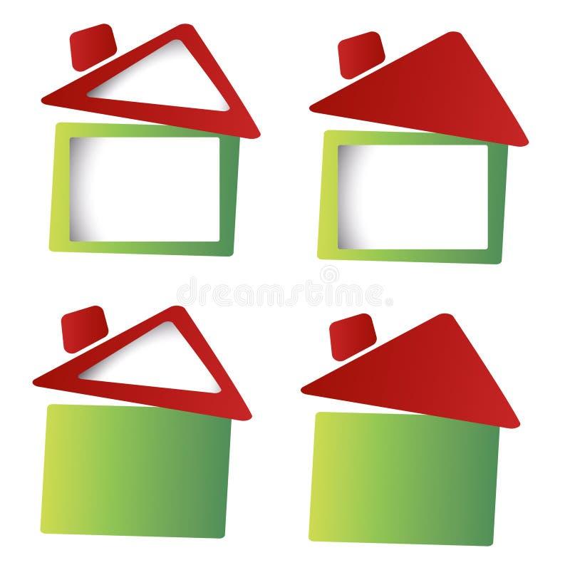 Groen huis en landschap op ecologisch concept stock afbeeldingen