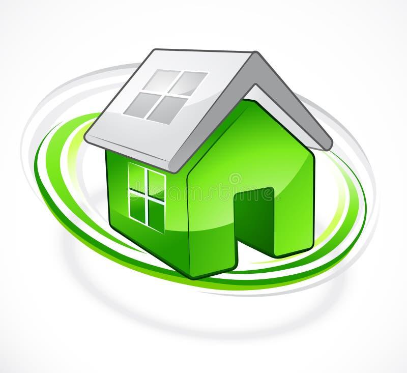 Groen huis met open dak vector illustratie
