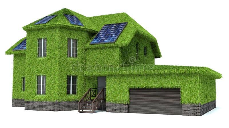 Groen huis met zonnepanelen stock illustratie