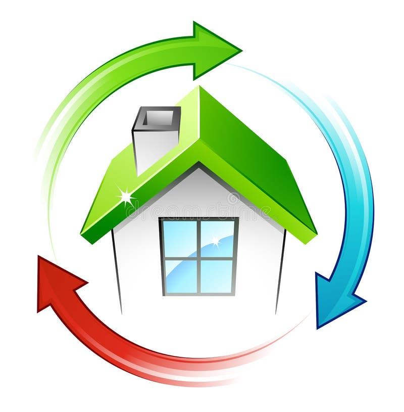 Groen huis recycling royalty-vrije illustratie
