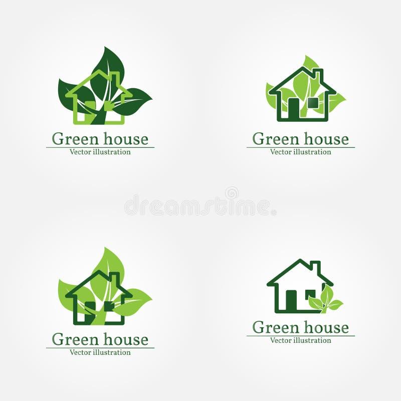 Groen huisembleem Energie - besparingsConcept Vector illustratie Vec royalty-vrije illustratie