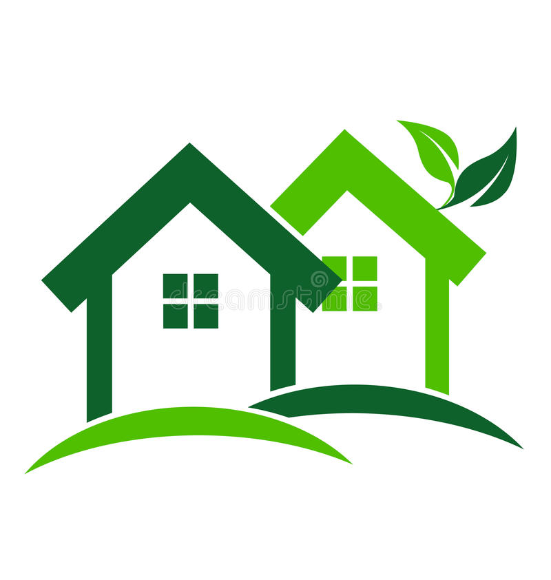 Groen huizenembleem royalty-vrije illustratie