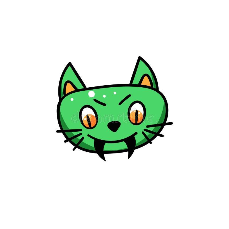 Groen kattengezicht met hoektanden stock illustratie