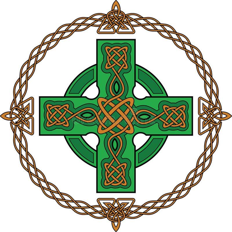 Groen Keltisch kruis stock illustratie