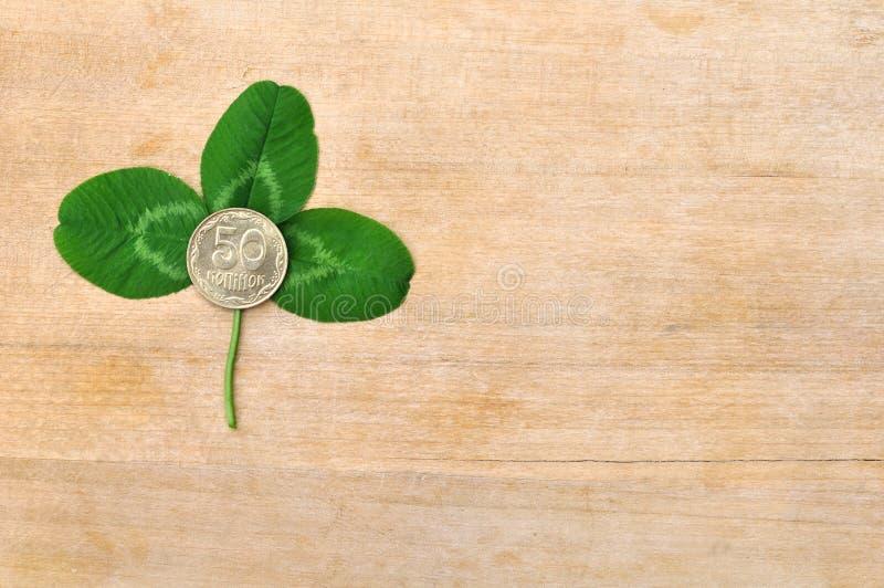 Groen klaverblad en muntstuk op houten raad stock afbeelding
