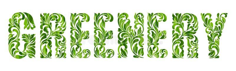 Groen - kleur van het jaar 2017 Decoratieve Doopvont met wervelingen en bloemenelementen royalty-vrije illustratie