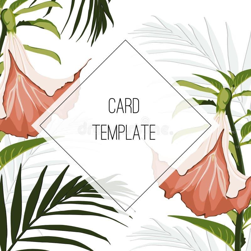 Groen kleurrijk tropisch vectorontwerp vierkant kader Lelies, protea, palmbladen Natuurlijke exotische kaart in moderne funky sti royalty-vrije illustratie