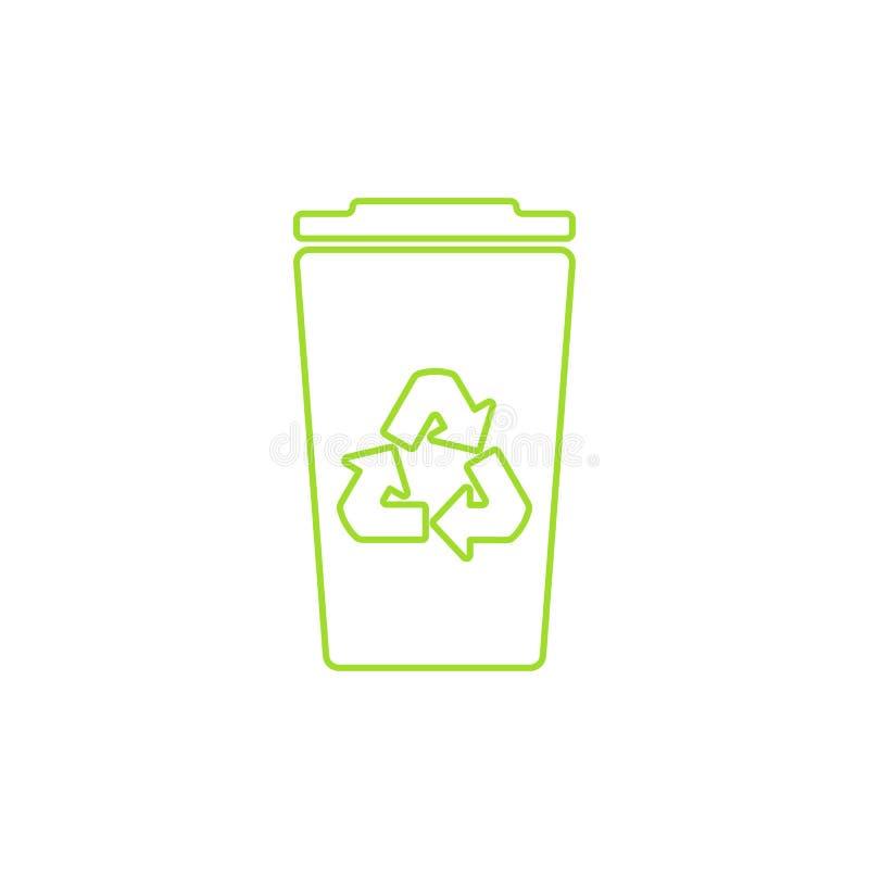Groen kringloopbak lineair pictogram Vector illustratie vector illustratie