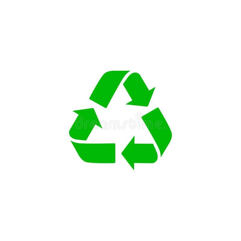 Groen kringloopteken Vectorpictogram Afvalsymbool Concept van het Eco het bioafval Pijlteken op wit, vlak ontwerp voor Web wordt  royalty-vrije illustratie