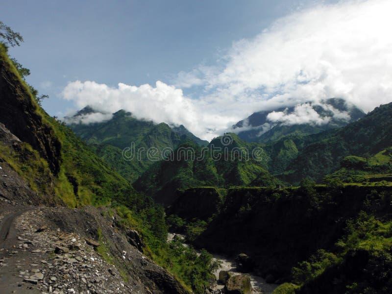 Groen Lager Himalayan-Landschap tijdens Moesson stock foto's
