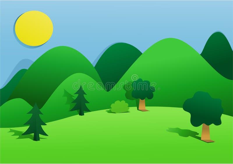 Groen landlandschap royalty-vrije illustratie