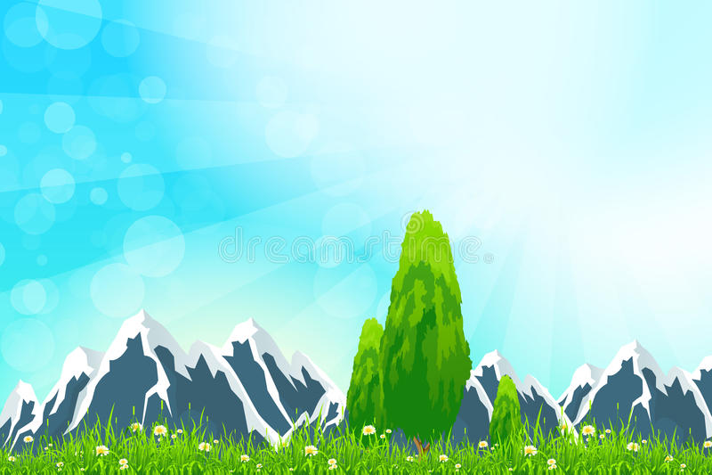Groen landschap met bergen stock illustratie