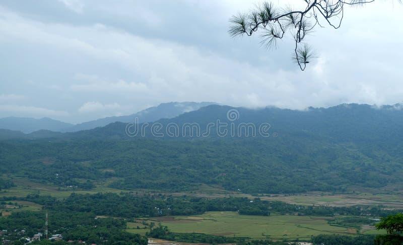 Groen landschap met blauwe hemel stock foto