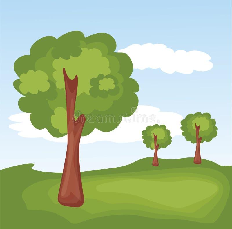 Groen Landschap met Bomen stock foto's