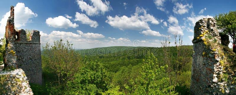 Groen landschap met ruïne van kasteel Pajstun royalty-vrije stock afbeelding