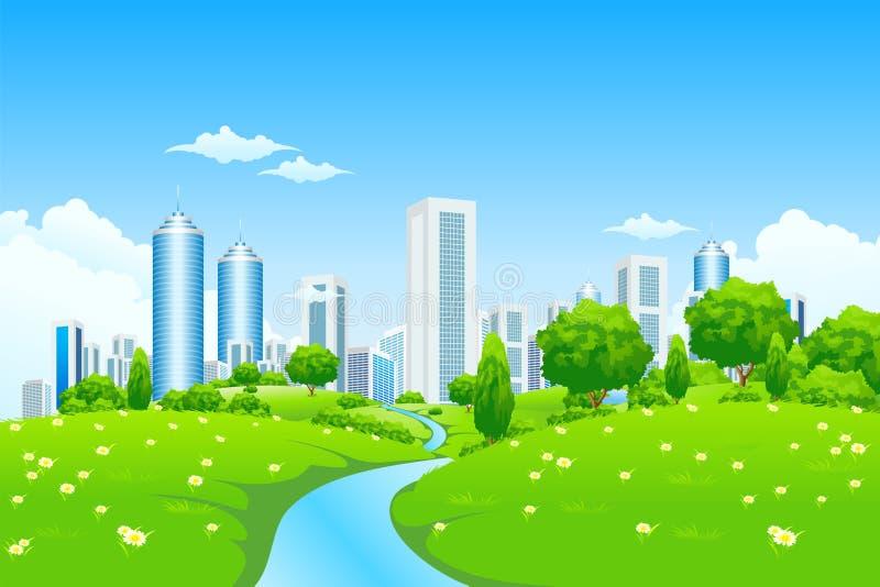 Groen landschap met stad royalty-vrije illustratie