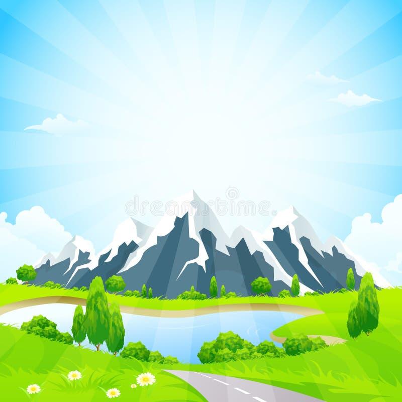 Groen Landschap met Weg en Bergen royalty-vrije illustratie