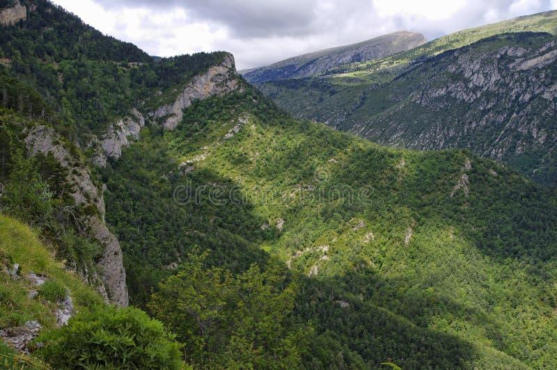 Groen landschap van Mirador DE Gresolet spanje royalty-vrije stock afbeeldingen