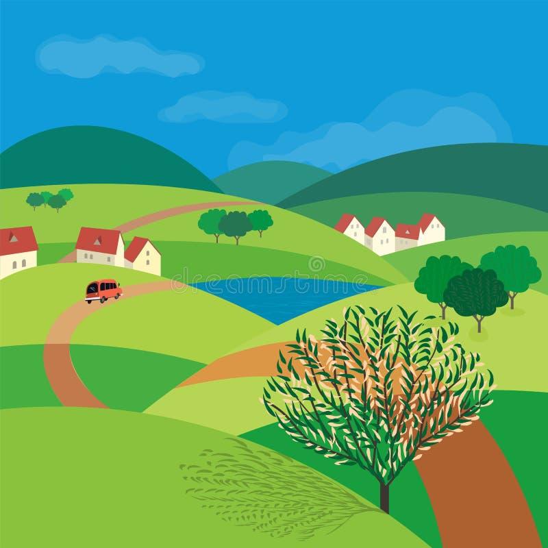 Groen landschapsconcept royalty-vrije illustratie