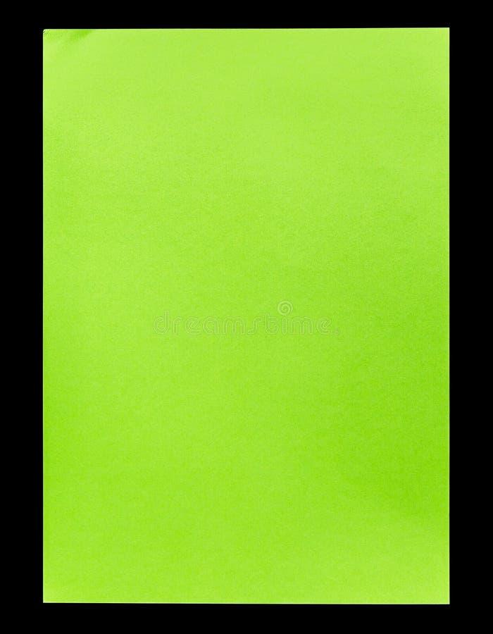 Groen leeg die A4 document op zwarte wordt geïsoleerd royalty-vrije stock foto