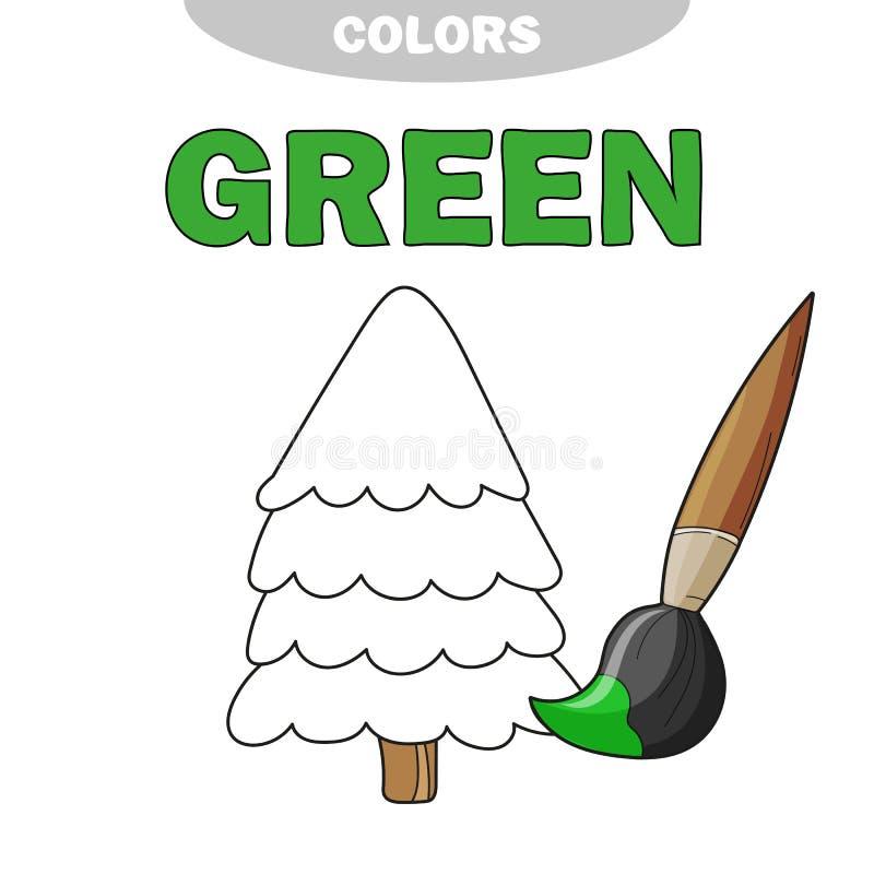 Groen Leer de kleur Illustratie van primaire kleuren Vector boom vector illustratie