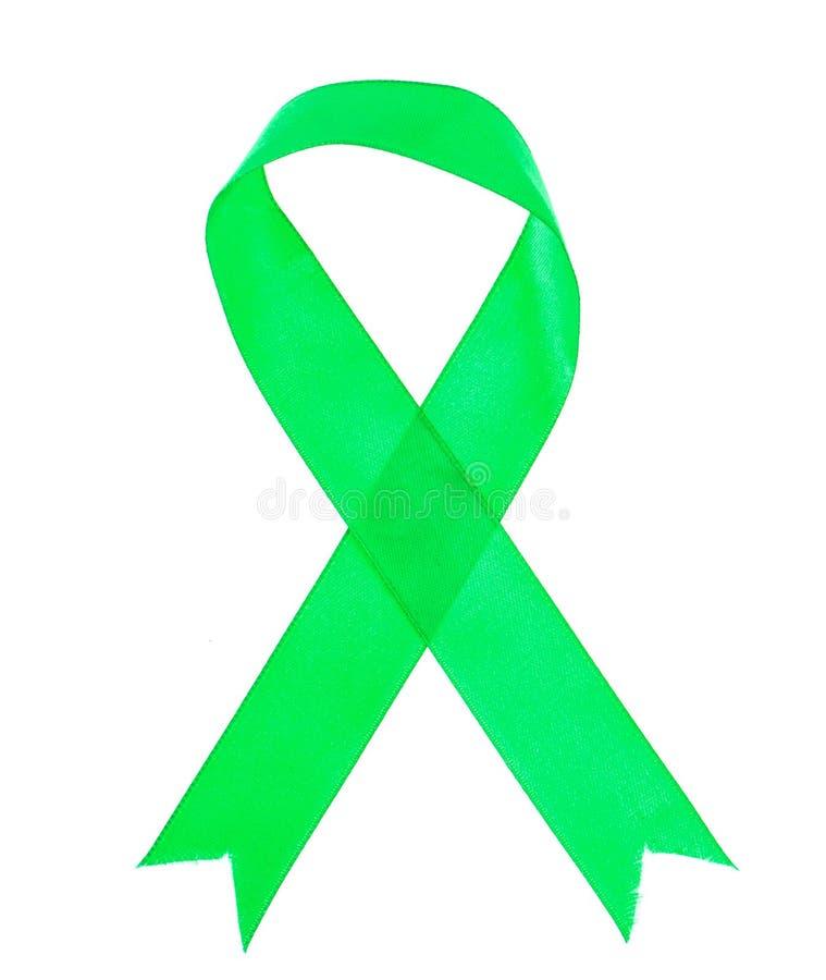 Groen lint als symbool van voorlichting van de ziekte, de Dag van de Wereldgezondheid stock afbeeldingen