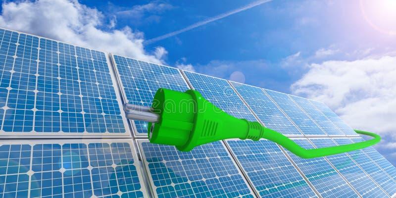 Groen machtsstop en zonnepaneel op blauwe hemelachtergrond 3D Illustratie vector illustratie