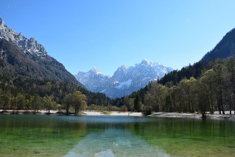 Groen meer in de bergen stock fotografie