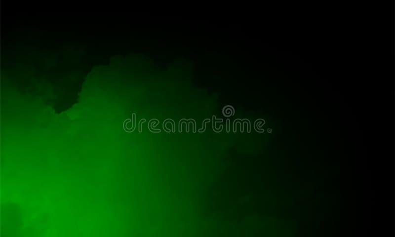 Groen Mist of rook transparant speciaal effect Witte troebelheid, mist of smogachtergrond Vector illustratie stock foto's