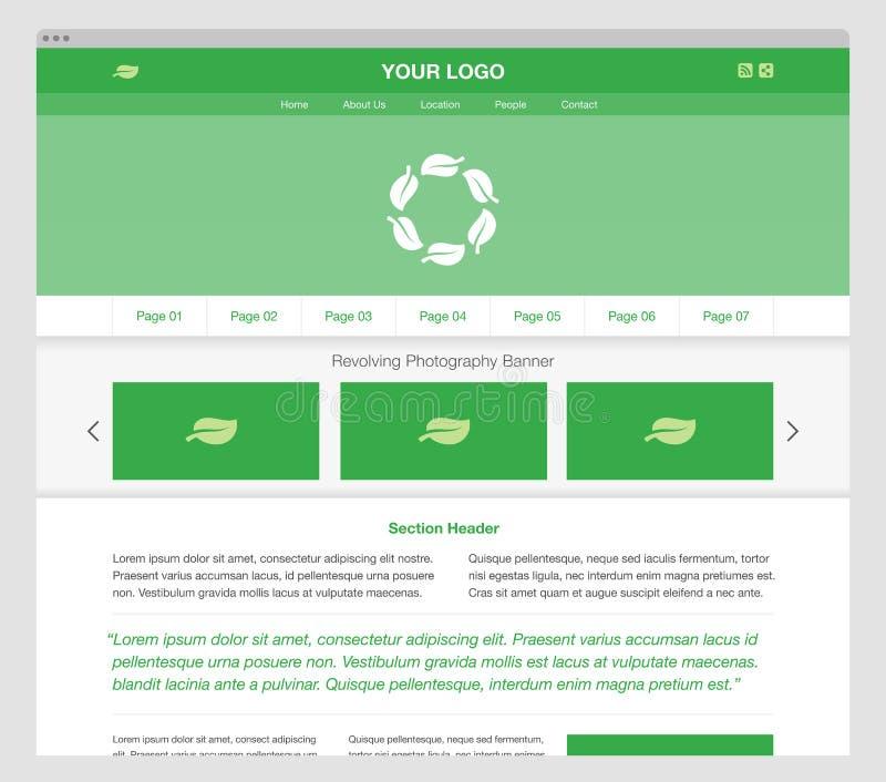 Groen modern ontvankelijk websitemalplaatje stock foto