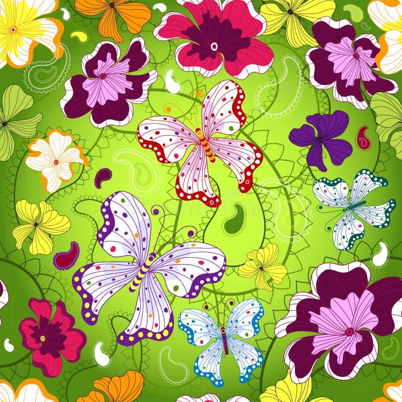 Groen naadloos bloemenpatroon vector illustratie