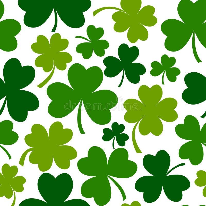 Groen naadloos patroon met vier en de klavers van het boomblad Vector illustratie vector illustratie