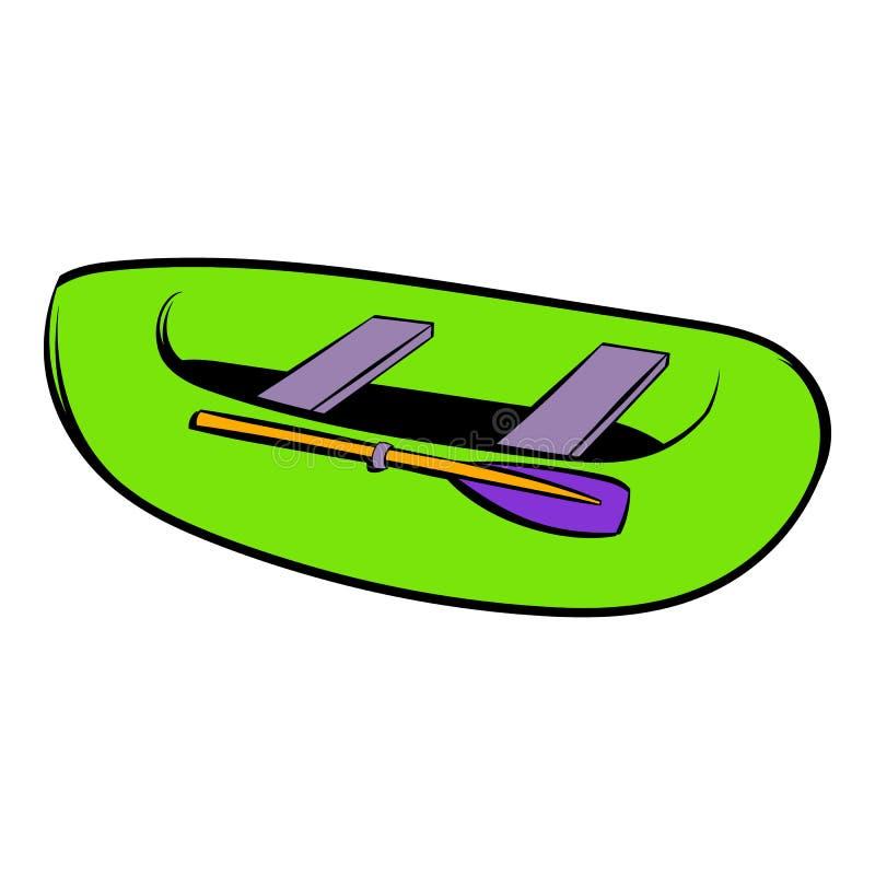Groen opblaasbaar bootpictogram, pictogrambeeldverhaal royalty-vrije illustratie