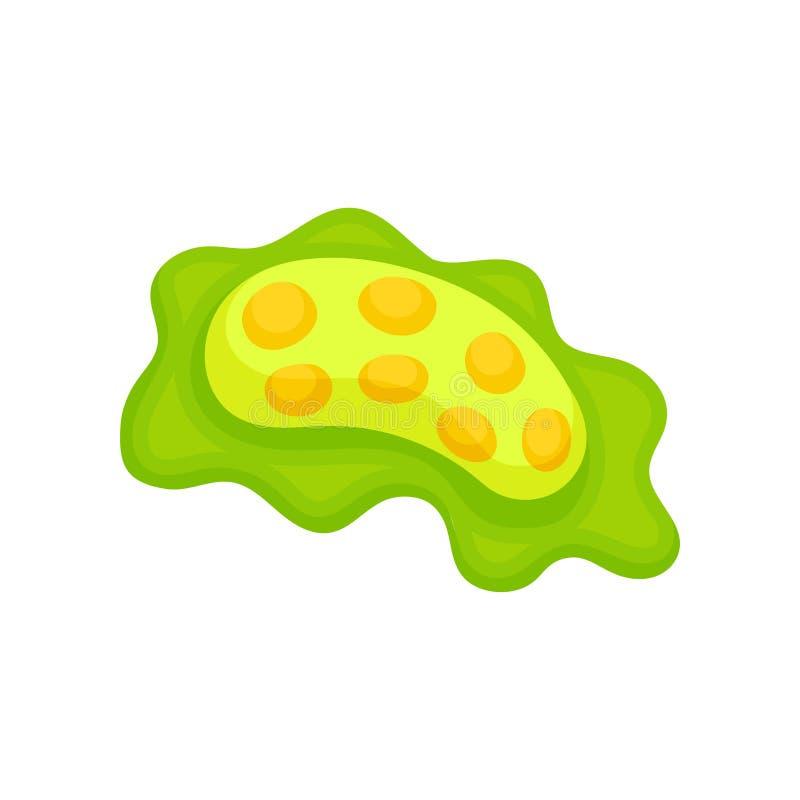 Groen ovaal virus met oranje cellen Biologiemicro-organisme onder microscoop De microbiologiethema Vlak vectorpictogram royalty-vrije illustratie