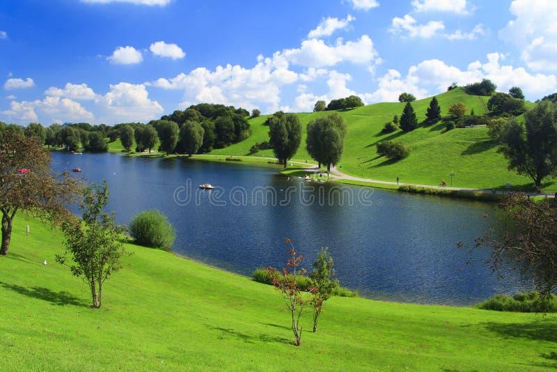 Groen park met laek stock fotografie