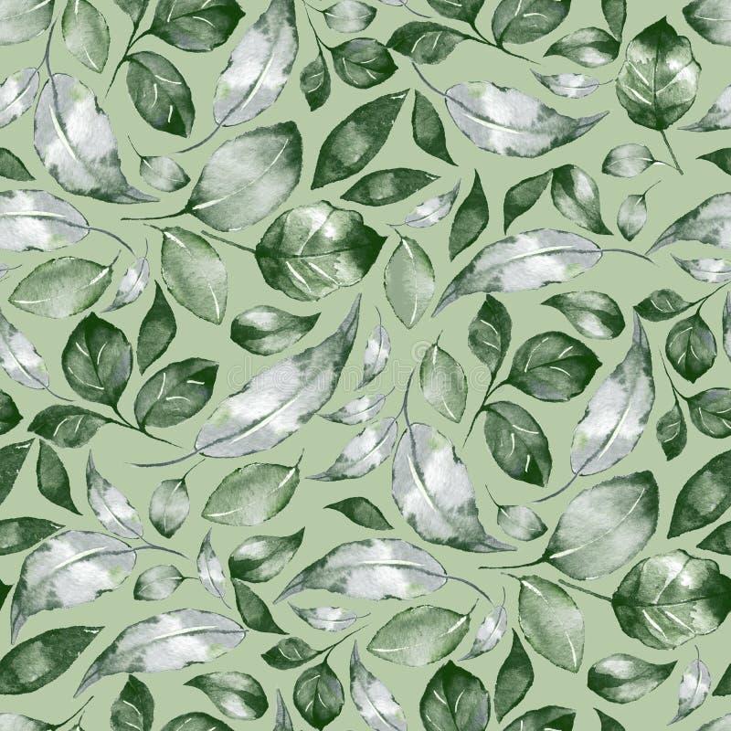 Groen patroon met waterverfbladeren stock illustratie
