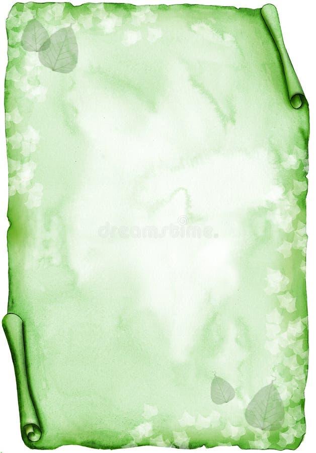 Groen perkament met bladeren - waterverf vector illustratie
