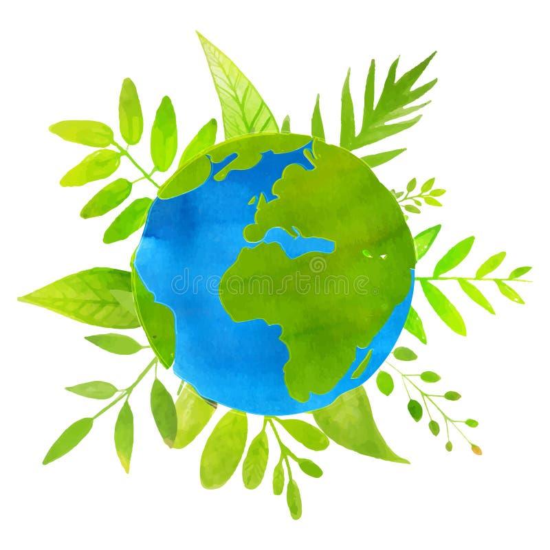 Groen planeetconcept aardeillustratie met royalty-vrije illustratie