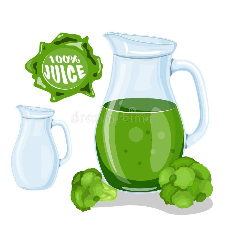 Groen Plantaardig Juice Smoothie Het sapkool van de glastuimelschakelaar Vlakke stijl stock illustratie