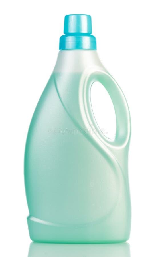 Groen plastiek met vloeibare die detergent fles op wit wordt geïsoleerd royalty-vrije stock fotografie