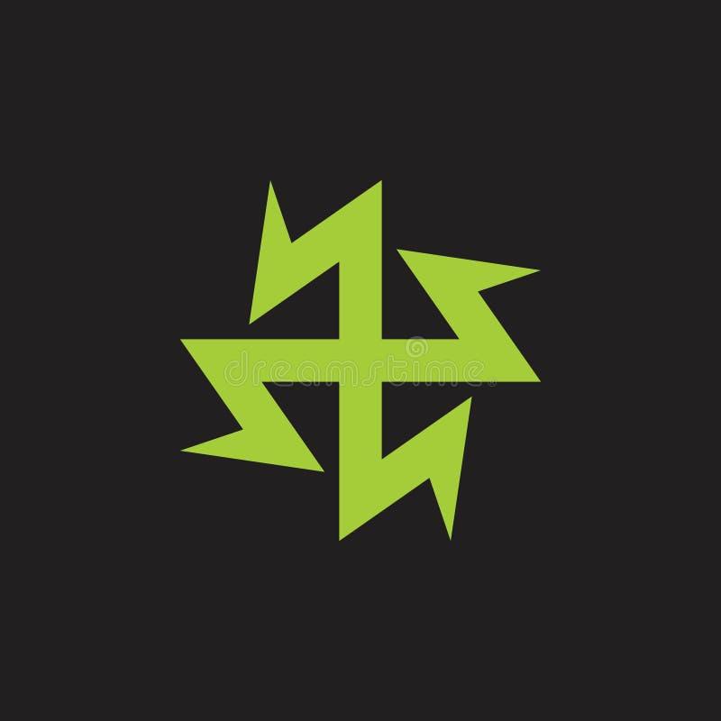 Groen plus de medische gezonde vector van het het symboolembleem van de lastenenergie royalty-vrije illustratie